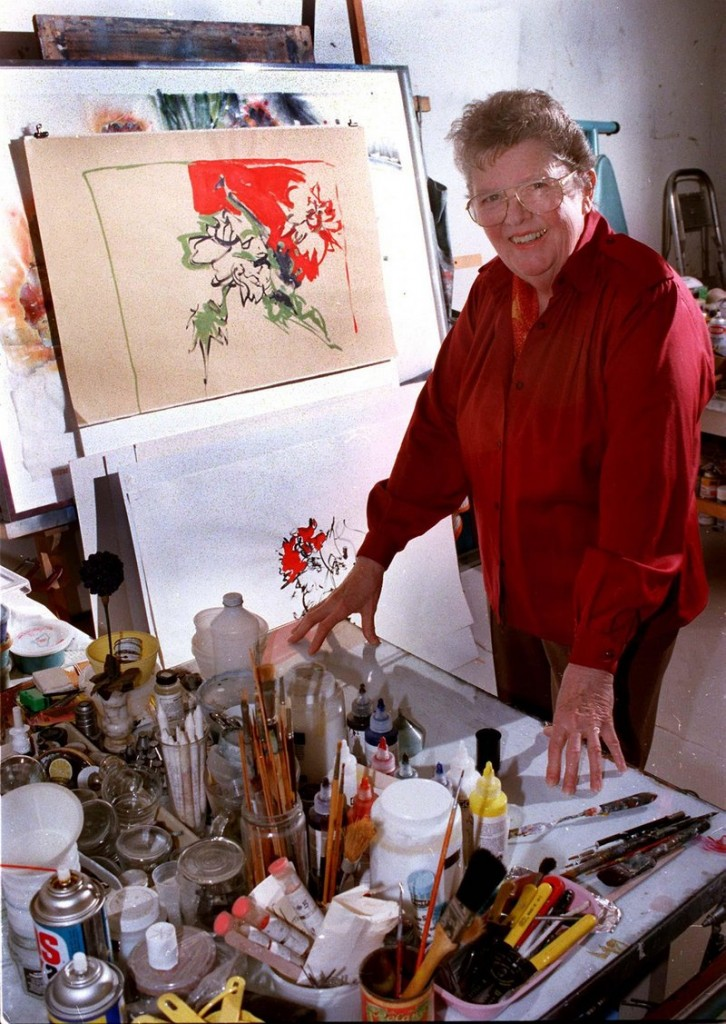 In this January 1998 file photo, Beverly Hallam works in her York studio. Hallam, a Maine arts pioneer, has died at age 89.