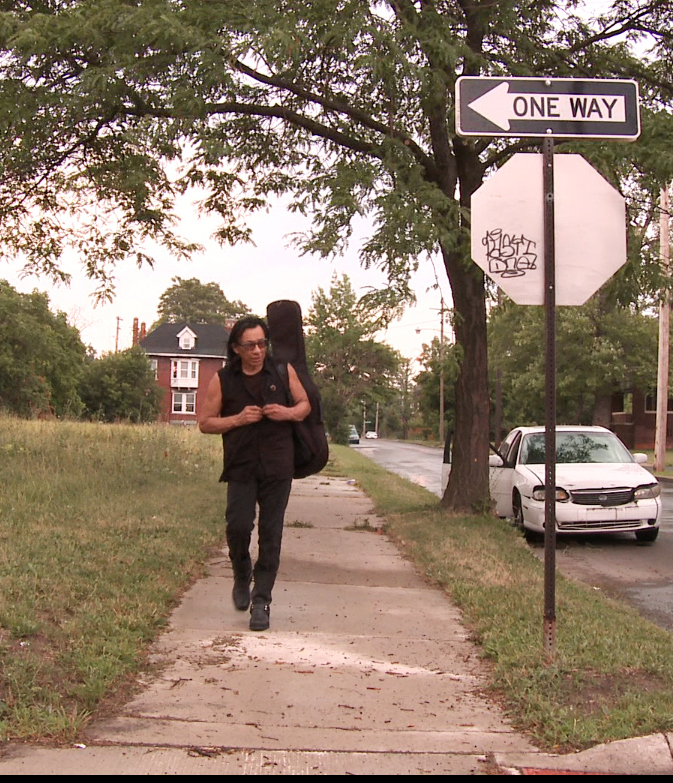 """Sixto Rodriguez, shown in Detroit in a scene from the Oscar-nominated documentary """"Searching for Sugar Man,"""" has become a symbol for the rights of wronged musicians."""