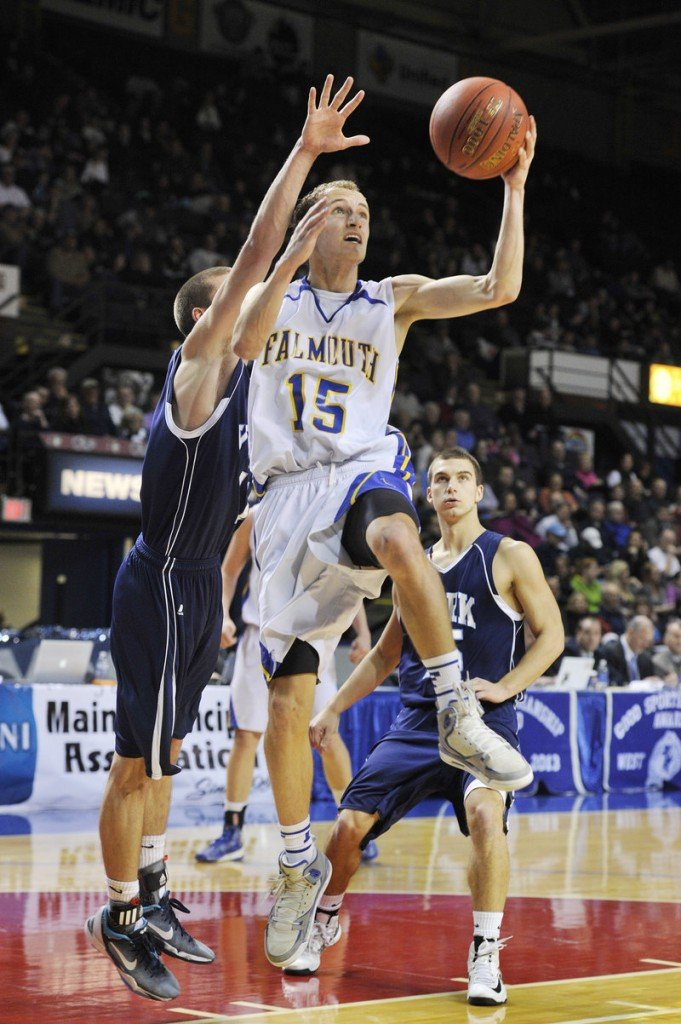 Falmouth's Grant Burfeind drivesfor two in the Yachtsmen's win over York in the Western Class B final at the Cumberland County Civic Center.