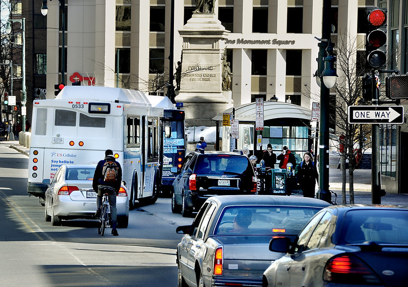 Traffic changes being considered for Congress Street in Portland are aimed partly at improving bus service.