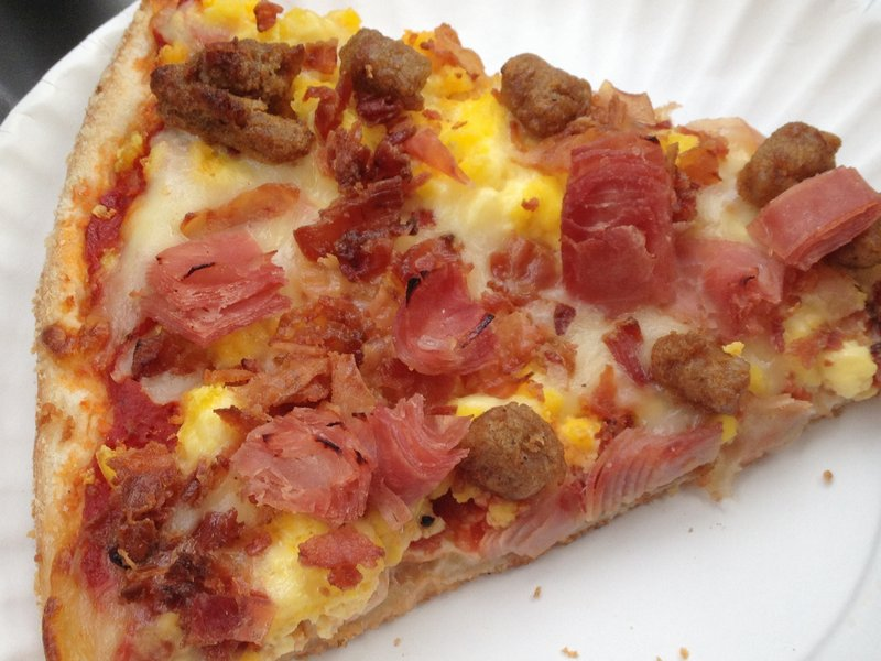 The breakfast pie is an addictive mix of meats, cheese and scrambled eggs.