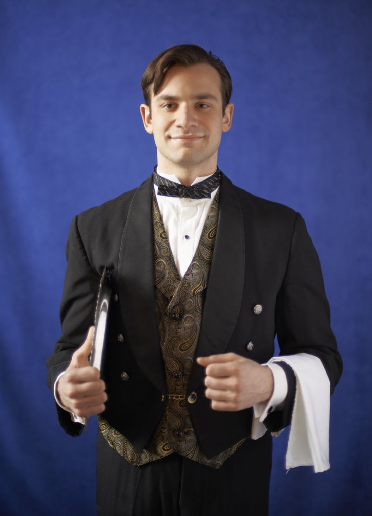 "Harrison M. Beck portrays Felix, the floor waiter at the Beau Rivage Hotel, the setting for Noel Coward's ""A Song at Twilight."""