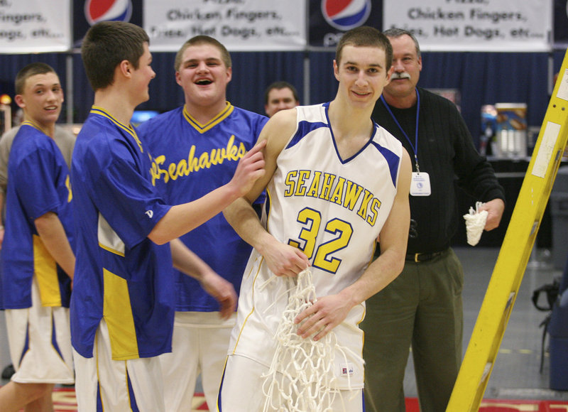 Anthony DiMauro, right, has been directing Boothbay's offense since his freshman season and surpassed 1,000 career points in a quarterfinal victory over Wiscasset.