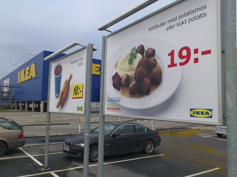 Ikea's frozen meatballs are advertised in a store parking area in Malmo, Sweden.