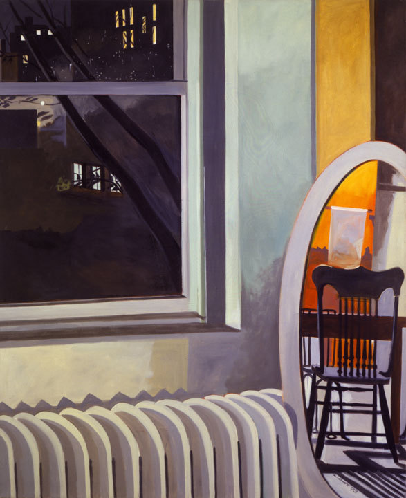 """""""Night Sky Loft,"""" 1972-73 oil on linen by Lois Dodd, from """"Catching the Light,"""" the exhibition of her work continuing through April 7 at the Portland Museum of Art."""