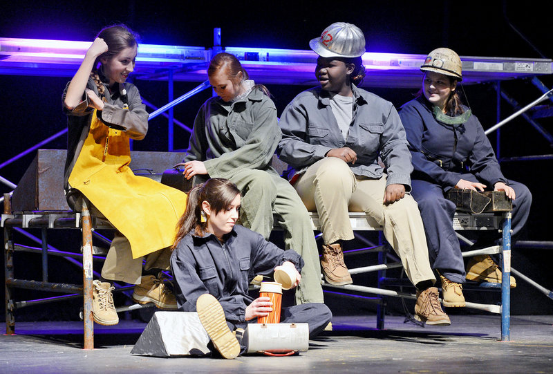 Deering High School students act out a scene depicting women working at the South Portland Shipyard during rehearsal of their one act play
