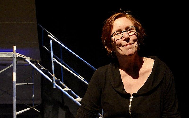 Kathleen Harris, the drama teacher at Deering High School, on the set of