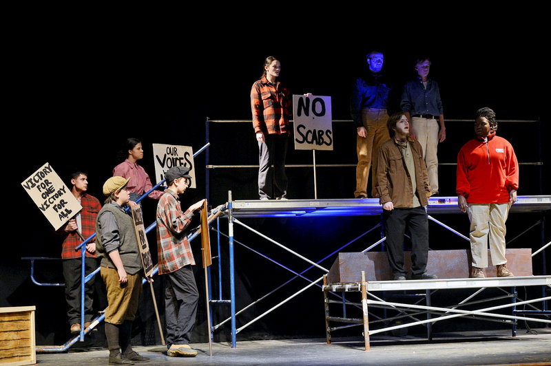 The drama department at Deering High School rehearsing a scene in