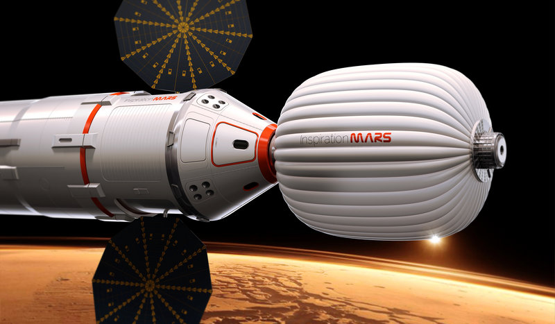 An artist's drawing provided by Inspiration Mars depicts a spacecraft that would be used to send a married couple on a 16-month mission to the red planet and back. The cost of the venture is expected to exceed $1 billion.