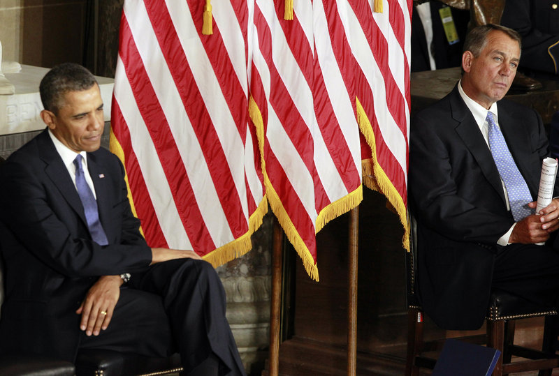 President Obama and House Speaker John Boehner talked briefly about the budget impasse Wednesday – to no avail – at the unveiling of a statue in honor of civil rights icon Rosa Parks in the U.S. Capitol.