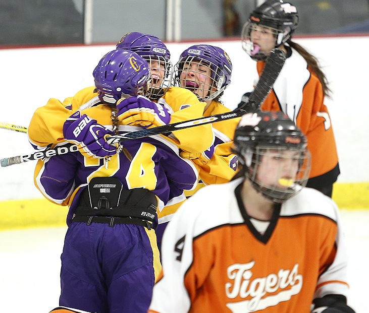 Abby Biegel of Cheverus celebrates between teammates Paige Severance, 24, and Katie Randall after scoring early in a 7-4 victory against Biddeford in a Western Maine girls' hockey quarterfinal Wednesday night.