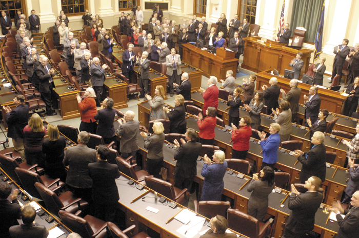Staff photo by Joe Phelan Legislators turn clap for someone in the gallery mentioned during Gov. Paul LePage's State of the State address on Tuesday February 5, 2013 in the State House in Augusta.