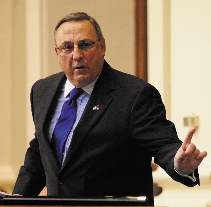 Gov. Paul LePage gestures while giving the State of the State address on Tuesday, Feb. 5, 2013. In letters to Vice President Joe Biden and Maine's congressional delegation, Gov. LePage says mental health care is the remedy for gun violence, not gun control.