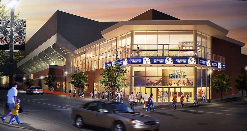 This artist conception, an overlay on a photo of the present Cumberland County Civic Center, shows the what the southeast corner of the building will eventually look like. But the Civic Center's trustees and the arena's principal tenant are arguing over who is responsible for a delay in the ongoing renovation project that is likely to push its completion back more than three months.