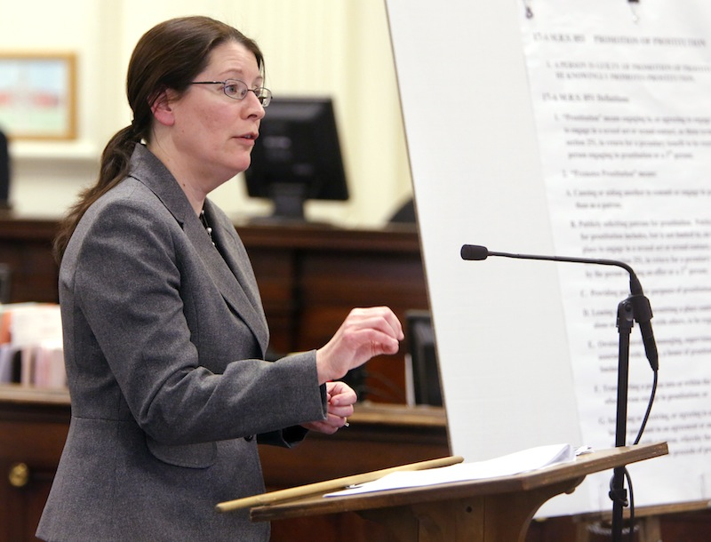 York County Deputy District Attorney Justina McGettigan addresses the jury during closing arguments in the trial of Mark Strong Sr. at York County Superior Court in Alfred on Tuesday, March 5, 2013.