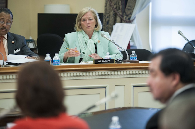 Rep. Chellie Pingree, D- Maine, center, questions Dr. Elisabeth Hagen, Under Secretary for Food Safety, and Alfred Almanza, Administrator, Food Safety And Inspection Service, right, during a House Agriculture Subcommittee hearing in Washington on Wednesday, March 13, 2013. (AP Photo/Kevin Wolf)