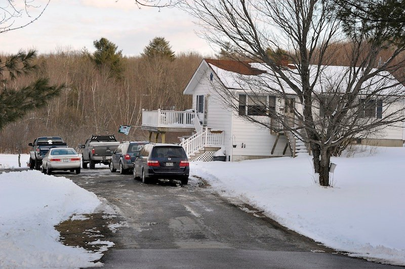 The home of Kevin Capponi and family where he accidentally backed over his son while plowing, causing his 6-year-old son Nathan's death on Wednesday, March 20, 2013 in Greene, Maine.
