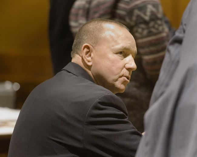 Portand Pirates managing owner Brian Petrovek appears at his sentencing hearing for drunk driving, in Cumberland County Unified Criminal Court on Friday.