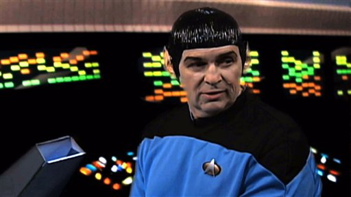 An IRS employee portrays Mr. Spock in a scene from a video parodying the TV show