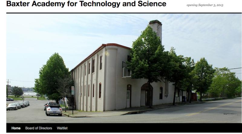 A screen shot from Baxter Academy's new website, www.baxteracademy.com.