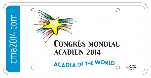 The cost of the commemorative plates is $25, with $16 designated to support the World Acadian Congress. The plate can be displayed over a vehicle's front license plate through 2015.