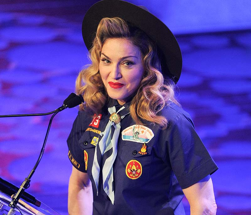 Madonna addresses the audience at the 24th Annual GLAAD Media Awards at the Marriott Marquis on Saturday might New York. Half-Length