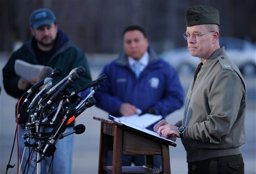 Col. David W. Maxwell holds a press conference at the Marine Corps Museum in Quantico, Va., on Friday, March 22, 2013 regarding a murder/suicide that occurred on Thursday night that resulted in the deaths of three Marines. A Marine killed a male and female colleague in a shooting at a base in northern Virginia before killing himself, officials said early Friday. (AP Photo/The Free Lance-Star, Peter Cihelka) Cihelka;Marines;Maxwell;Quantico;Solivan