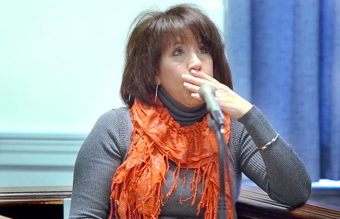 Tammy Cole becomes emotional while talking about the death of her sons Derek and Gage Greene during a damages hearing in civil court at York County Superior Court in Alfred on Thursday. Cole's sons were shot by Rory Holland in Biddeford in 2009 and Cole was seeking a wrongful death settlement for those murders.