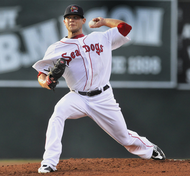 Sea Dogs starter Drake Britton pitches during a game against the Binghamton Mets at Hadlock Field in this Aug. 25, 2012, photo.