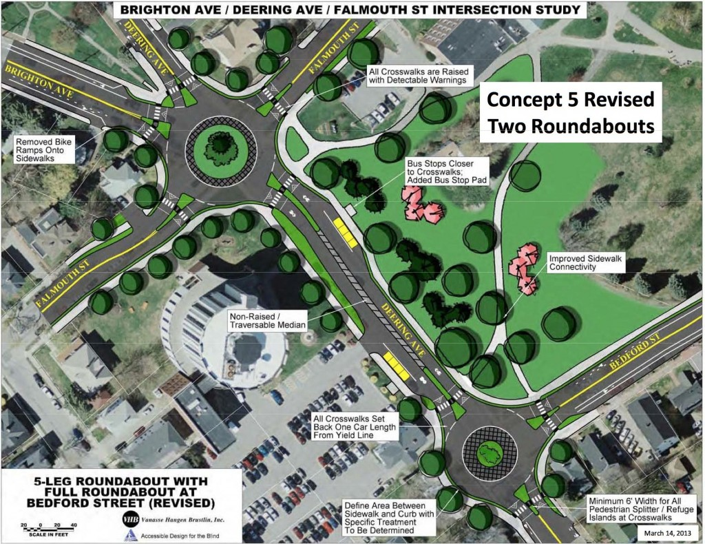 A concept drawing of the roundabout proposal for the intersections of Falmouth, Deering, Brighton, and Bedford near the University of Southern Maine in Portland.