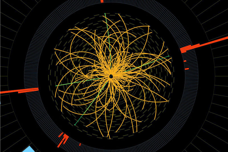 This 2011 image provided by CERN, shows a real CMS proton-proton collision in which four high energy electrons (green lines and red towers) are observed in a 2011 event. The event shows characteristics expected from the decay of a Higgs boson but is also consistent with background Standard Model physics processes. Physicists say they are now confident they have discovered a long-sought subatomic particle known as a Higgs boson. The European Organization for Nuclear Research, called CERN, says Thursday March 14, 2013 a look at all the data from 2012 shows that what they found last year was a version of what is popularly referred to as the
