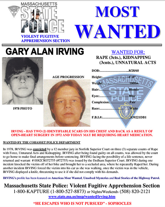 Gary Allen Irving, who is now in his 50s, has been on the Massachusetts Top 10 Most Wanted list for decades.