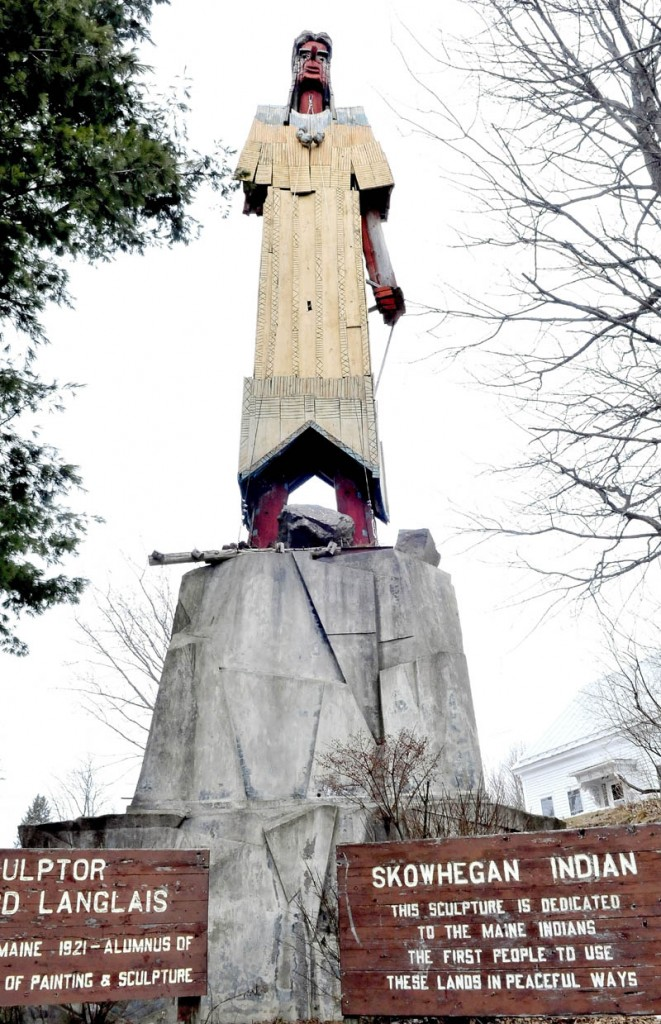 The Skowhegan Indian landmark sculpture in downtown is slated to be restored by Steve Dionne.