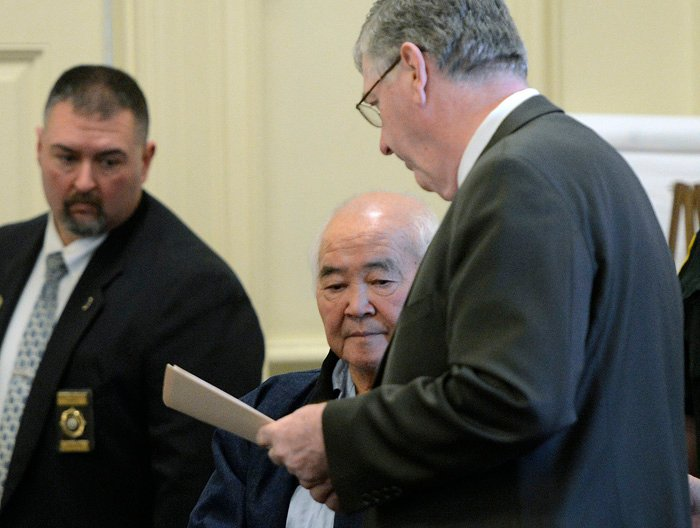 In this file photo, James Pak appears in York County Superior Court in Alfred on Monday, Dec. 31, 2012 to face charges of fatally shooting Derrick Thompson, 19, and Alivia Welch, 18, who were his tenants. A Superior Court judge has denied an appeal by the Portland Press Herald seeking to overturn the state's decision to withhold transcripts from 911 calls related to the fatal shootings.