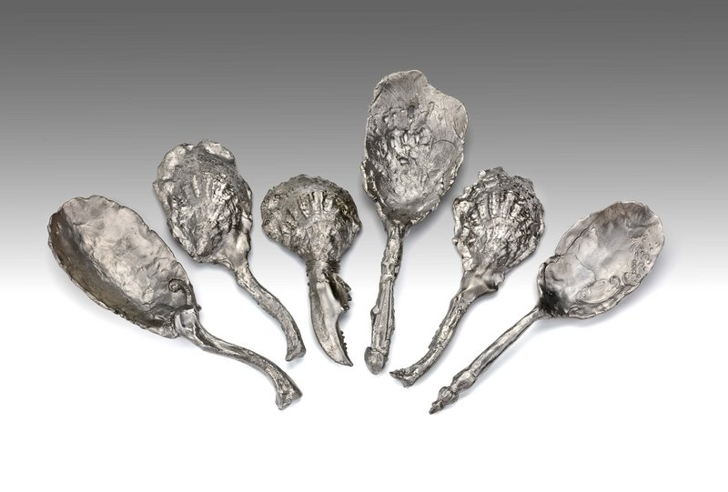 """Jeffrey Clancy makes pieces that riff on functional tabletop objects, like these spoons. """"The way he renders them is the opposite of practical,"""" says Daniel Fuller, director of the Institute of Contemporary Art at MECA."""