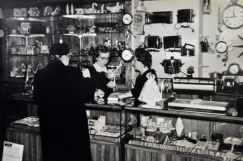 Rose Novick, left, who was married to Jack Novick, the father of present-day owner Sam Novick, and Muriel Novick, right, who was married to Jack Novick's brother David Novick, work as salesclerks at Hub Furniture in 1953.