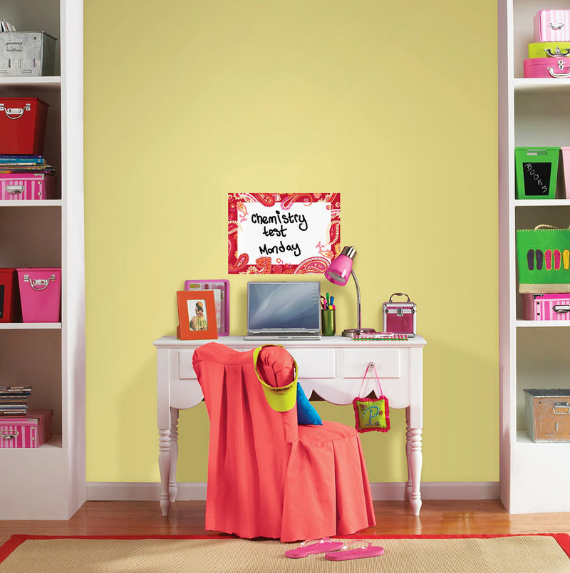 Introducing items into a kid's room like this WallPops Dry-Erase Message Board can help keep the area – and for that matter, the kid – better organized.