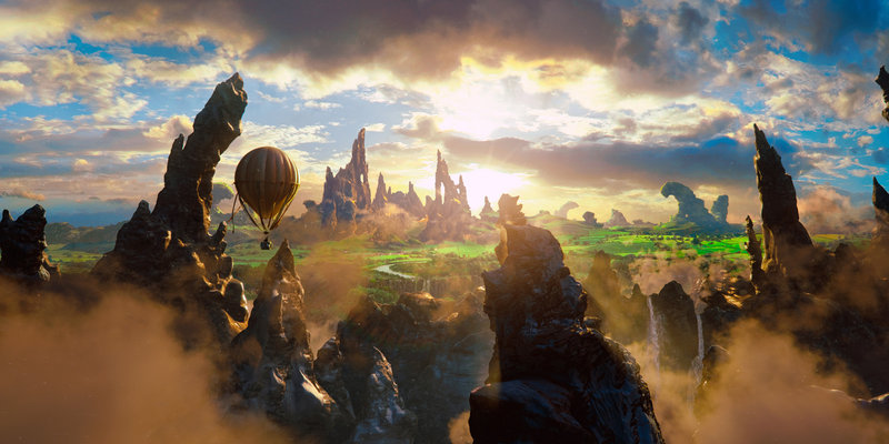 Oscar Diggs' (James Franco) hot air balloon sails over the landscape of the Land of Oz.