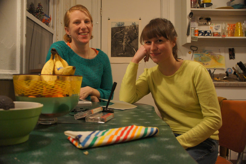 Pilar Nadal, left, and Anne Buckwalter in Nadal's kitchen/studio.