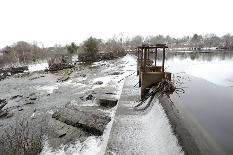 Sappi's Saccarappa Dam on the Presumpscot River in Westbrook on Wednesday, March 6, 2013.