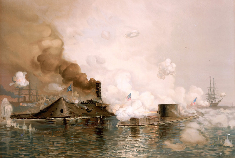 "An 1886 lithograph by J.O. Davidson, ""First Fight between the Ironclads,"" shows one of the most historic battles of the Civil War. The clash was the first between the two steel ships and lasted nearly four hours – with neither inflicting serious injury on the other. On Friday, descendants of the USS Monitor crew will gather in Washington's Arlington Cemetery as remains of two of those sailors are interred."