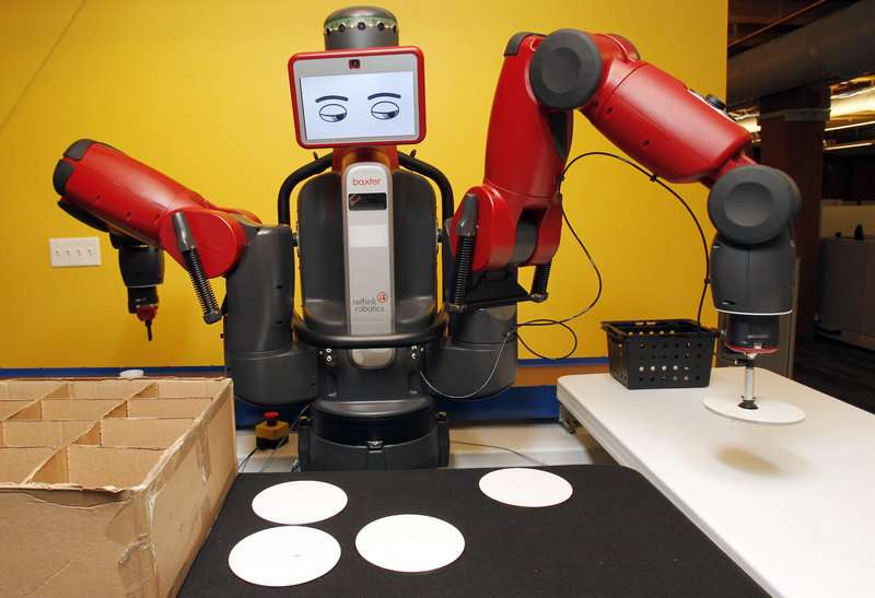 Rethink Robotics designed the Baxter robot to work alongside real people. Its cartoon face changes expressions to warn people what it is doing.