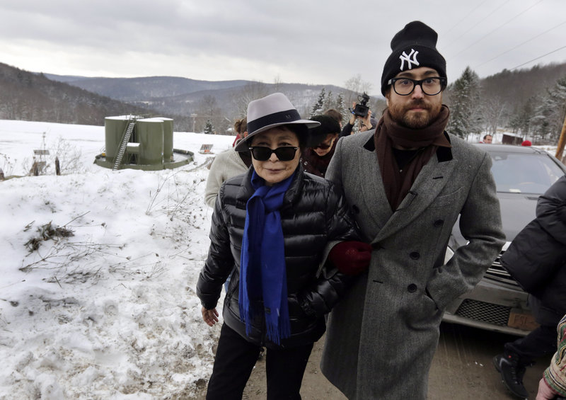 Yoko Ono and her son Sean Lennon visit a fracking site in Franklin Forks, Pa., in January. Ono and Lennon have formed a group called Artists Against Fracking, which has become the main celebrity-driven anti-fracking organization.