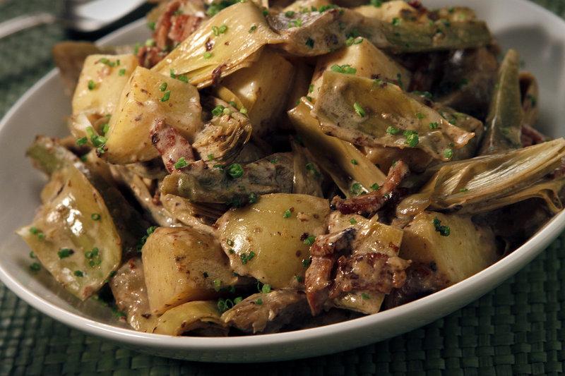 Artichoke, bacon and new potato hash