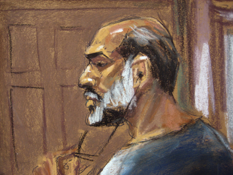 An artist's sketch shows Sulaiman Abu Ghaith at the U.S. District Court in Manhattan on Friday. Abu Ghaith pleaded not guilty to a charge of conspiracy to kill Americans.