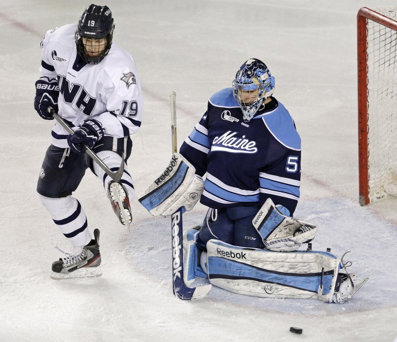 """Martin Ouellette, who started 28 of 36 games in goal for UMaine, recognized the Black Bears were a good team early in the season despite their struggles. """"I just knew we had the potential to do something this year,"""" he said."""