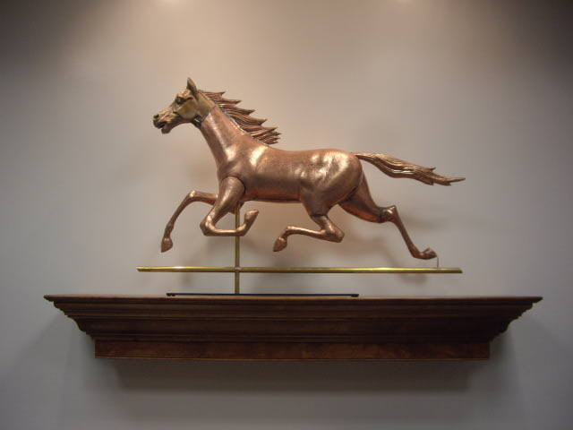 Also an exhibitor at the Greater Portland Landmarks' Old House Trade Show, New England Weathervane Shop offers original antique weathervane molds and bronze patterns like this horse designs.