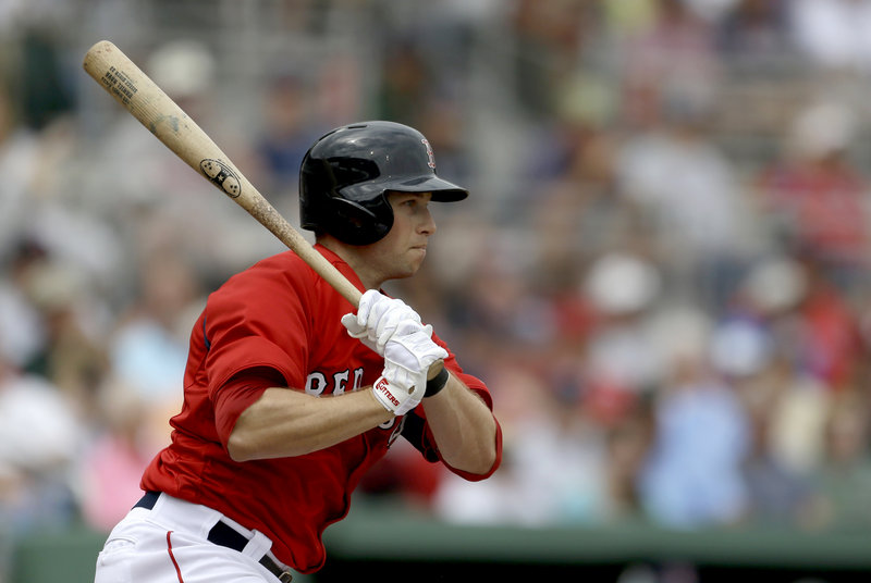 Daniel Nava, who played for the Portland Sea Dogs in 2009, hits a single in the third inning of Tuesday's game against the Blue Jays in Fort Myers, Fla. The Red Sox won, 5-3. Nava went 2 for 4 and scored a run.