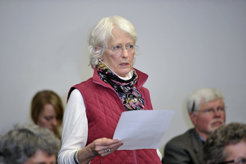 Constance Bloomfield of the Portland Society for Architecture opposes allowing a 165-foot tower in Bayside at a Planning Board meeting Tuesday.
