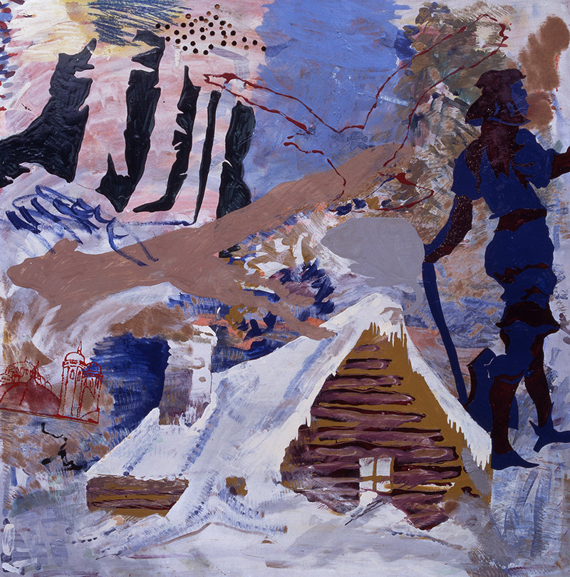 """""""Mordet I Finderup Lade (Regicide at Finderup Barn),"""" 1967, mixed media on Masonite, and, below, """"Untitled (Horses),"""" 2009, tempera on canvas by Per Kirkeby."""